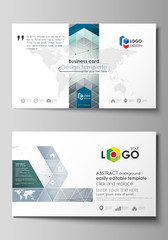 Business card templates. Easy editable layout, abstract vector design template. Genetic and chemical compounds. Atom, DNA and neurons. Medicine, chemistry, science concept. Geometric background.