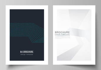 The vector illustration of the editable layout of A4 format cover mockups design templates with geometric background made from dots for brochure, magazine, flyer, booklet, annual report.