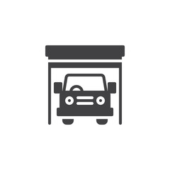 Car garage vector icon. filled flat sign for mobile concept and web design. Car service and repair simple solid icon. Symbol, logo illustration. Pixel perfect vector graphics