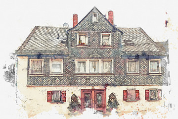 A watercolor sketch or an illustration of traditional German architecture in the city of Furth in Bavaria in Germany.