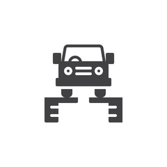 Car on a lift vector icon. filled flat sign for mobile concept and web design. Car service simple solid icon. Symbol, logo illustration. Pixel perfect vector graphics