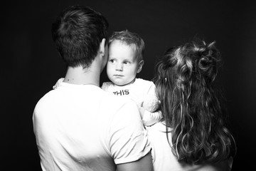 Happy family black and white