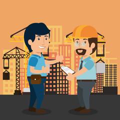 men builders characters working