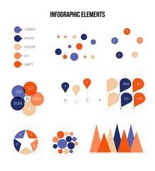 Modern Data Visualisation Inforgaphic Elements Vector Set. Blue, Brown, Pie Chart, Group Diagram, Rating, Target, Success, Arrows, Presentation Concept. Growth Data Collection Inforgaphic Elements.