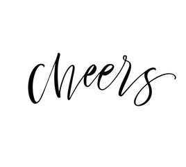 Cheers card. Hand drawn modern calligraphy.