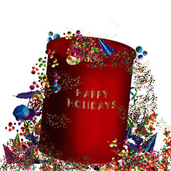 Dessin abstrait d'un coffret cadeau fictif avec cascade de confettis, cotillons, boules pour de joyeuses fêtes