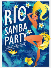 Happy girl dancing samba, beautiful Brazilian woman in festive costume with bright plumage vector Illustration on a jungle background.