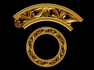 "golden ornamental segment, ""motion"", round version, ninety degree angle, for corner or circle, 3d Illustration, separated on black"
