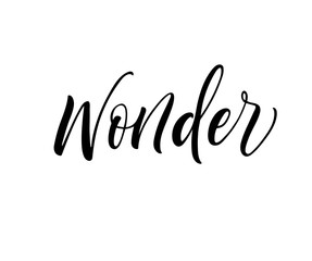 Wonder lettering. Hand drawn modern calligraphy. Ink illustration. Happy holidays poster. Banner with hand drawn words. Isolated on white background.