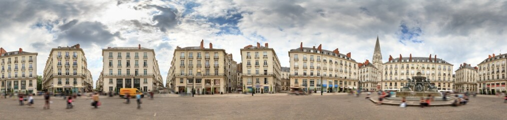 Spherical 360 degree panorama of town square Place Royale in the shopping center of Nantes, France, on a summer day with the Basilique Saint-Nicolas de Nantes in the background