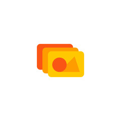 Photo library icon flat element. Vector illustration of photo library icon flat isolated on clean background for your web mobile app logo design.