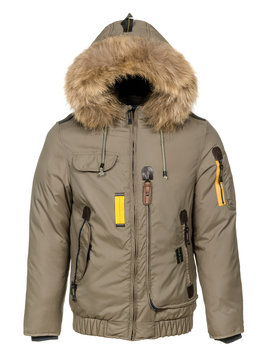 Winter jacket with fur hood on white background