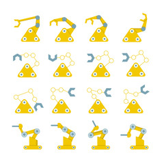 robotic arm icons, industrial robot for manufacture illustration