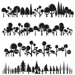 silhouette tree and forest landscape scene vector
