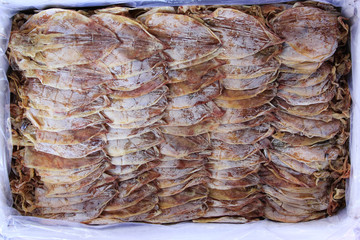 Top view of Dried squid in a box