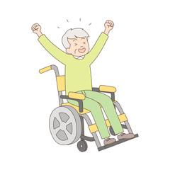 車椅子_喜ぶ_全身_シニア男性