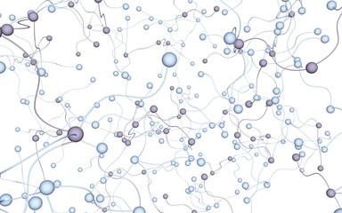 Neural network. Social network. Futuristic dna, deoxyribonucleic acid. Abstract molecule, cell illustration, mycelium. Light background. 3D illustration