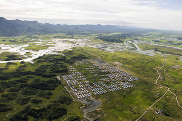 An aerial view of Hla Phoe Khaung transit camp for Rohingya who decide to return back from Bangladesh, is seen in Maungdaw in Rakhine state