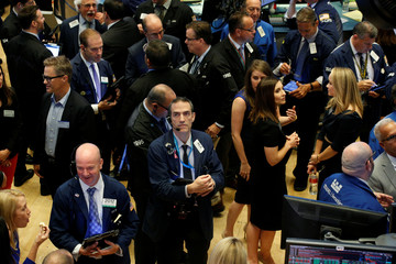 Traders gather at Eventbrite Inc.'s IPO awaiting for the stock to begin trading at the New York Stock Exchange (NYSE) in New York