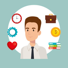 businessman with business set icons