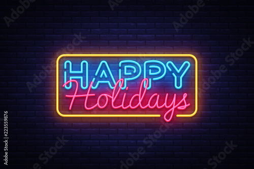 happy holidays neon text vector happy holidays neon sign design