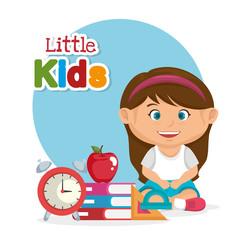 little schoolgirl with education supplies