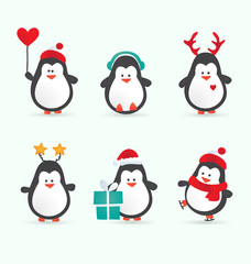 Christmas penguin characters. Set of winter cartoon vector illustrations