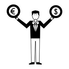 man lifting euro and dollar