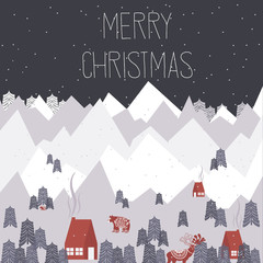 Cute Merry Christmas greeting card with winter landscape and elements in the Scandinavian style. Editable vector illustration