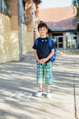 Boy standing with backpack after school classes