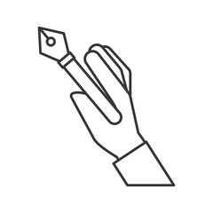 hand holding fountain pen supply design