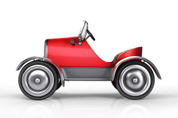 3d rendering side view of red retro pedals car isolated on white background with clipping paths.