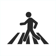 Man silhouette crossing crosswalk. Simple flat icon, black on white background.