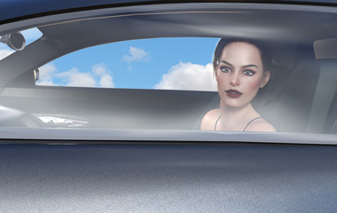3d illustration of a beautiful brunette woman looking out of a window of a car with blue sky and clouds in the background.