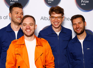 Musicians from Everything Everything, whose album 'A Fever Dream' has been nominated for the Mercury Prize 2018, pose for a photograph ahead of the ceremony at the Hammersmith Apollo in London