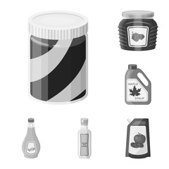 Vector illustration of can and food sign. Set of can and package vector icon for stock.