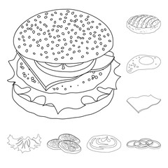 Isolated object of burger and sandwich sign. Collection of burger and slice stock vector illustration.