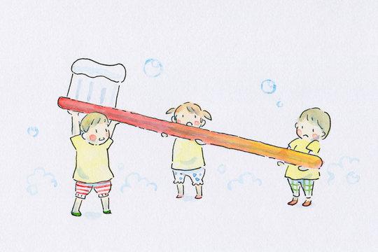 みんなで歯ブラシ