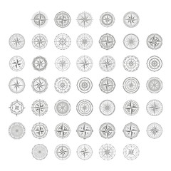 vector icon set with compass rose for your design