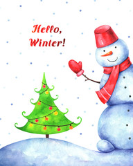 "hand drawn illustration of funny snowman, christmas tree and text ""Hello, Winter!"" on white background. Watercolor greeting card"