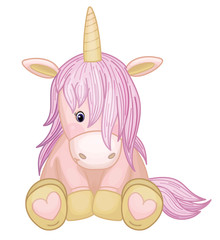 Vector cute baby unicorn cartoon,  isolated on white.