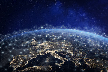 European telecommunication network connected over Europe, France, Germany, UK, Italy, concept about internet and global communication technology for finance, blockchain or IoT, elements from NASA