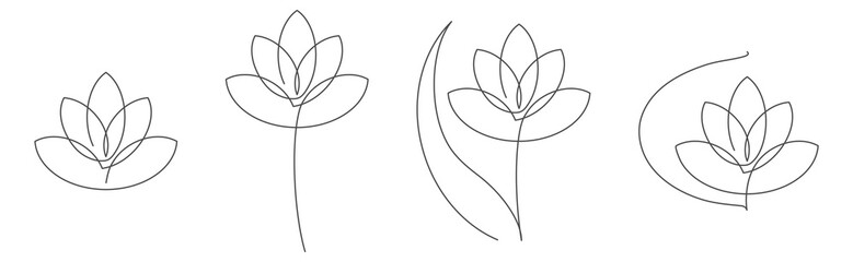 Flower lotus continuous line vector illustration set with editable stroke for floral design or logo.
