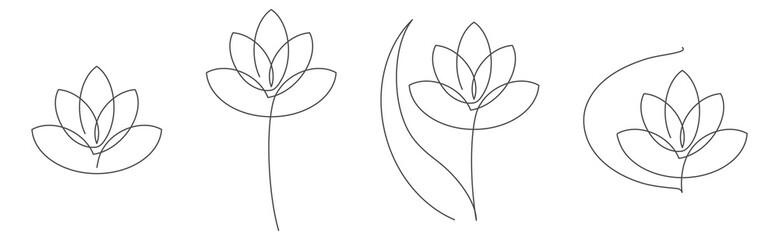 Flower lotus continuous line vector illustration set with editable stroke for floral design or logo. Fototapete
