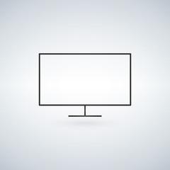 Desktop computer, monitor line icon, outline vector sign, linear style pictogram isolated on white. Symbol, logo illustration. Editable stroke.