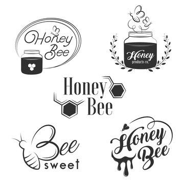 Honey vintage logo set