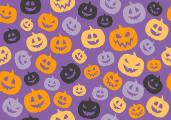 Halloween background with funny pumpkins. Vector.