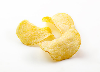 Potato chips isolated white background close up