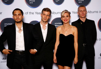 Musicians from Wolf Alice, whose album 'Visions of a Life' has been nominated for the Mercury Prize 2018, pose for a photograph ahead of the ceremony at the Hammersmith Apollo in London