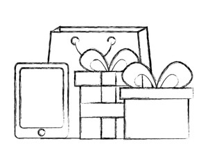 shopping bag with tablet and gift